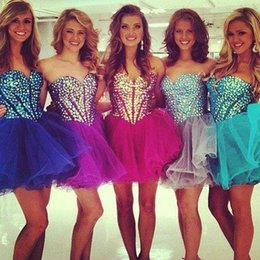 Wholesale 2015 New Short Homecoming Dresses Sweetheart Beads Rhinestones Corset Short Graduation Dresses Tulle Prom Party Dresses Cheap Plus Size