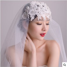 Wholesale 80 CM Vintage Ivory Veils new manual nail drill pearl lace cap type restoring the bride wedding veil With Crystal Beaded