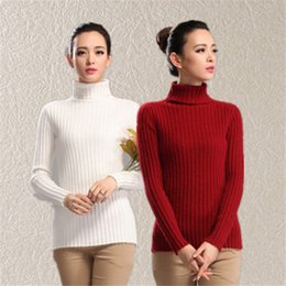 Wholesale Turtle Neck Stripe Mink Cashmere Pullover Sweater For Women Autumn Winter Knitting Slim Jumper Fashion Sweater Pullover Cashmere L008