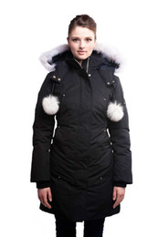 Wholesale Top high quality classic Moose Knuckles Ladies Stirling Parka down Jacket Winter long jacket coat Hooded cotton warm real fox fur cols