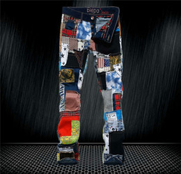 Wholesale New fashion mens colorful patchwork washed jeans male personality denim skinny pants mens casual slim jeans