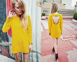 Wholesale Wow Yellow Casual Dress Backless Hole Long Sleeves Jersey Bright Color Brand Dresses Evening Event Party Prom Sexy Dress