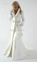 Wholesale fur A line coat strapless satin White Winter Wedding Dress Cloak Chapel Train Satin Long Sleeve wedding Coat for bride