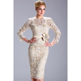 Wholesale Vintage Knee Length Mother Of The Bride Dresses Lace Long Sleeve Applique High Collar Sheath Formal Gowns Custom New Arrival