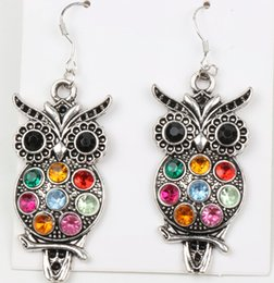 Wholesale MIC Fashion Jewelry Colorful Owl Crystal Silver Fish Hooks Earrings Dangle