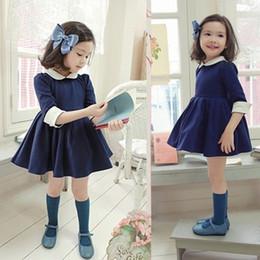 Wholesale korean kids pleated Dress girls lapel School uniforms dress children s clothing Blue