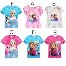 Wholesale 6 colors elsa anna frozen t shirts kids clothes girls branded children year tees t shirt for girls summer style cartoon blouse tops HX