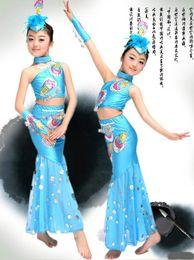 Wholesale Dance dress Girls Clothing sets Ballroom Ballet Belly Latin Beyonce tutu Costume Peacock performance clothing costumes