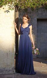 Wholesale 2015 Royal Blue chiffon long bridesmaid dresses cheap off shoulder Graduation Dresses Ruffled Events dresses under formal prom dresses LZ