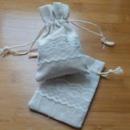 Wholesale Linen Jute Drawstring Bag with Lace x12cm x14cm x10cm x15cm Rustic Vintage Wedding Favor Holder Jewelry Pouches