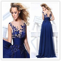Wholesale Hote Sale Long Party Dresses Sheer Straps Jewel Sleeveless Hollow Appliqué Floor Length New Elegant Exquisite Modern Chiffon Prom Dress