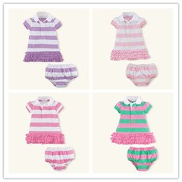 Wholesale Girl Baby Clothes Cute Summer Lace Turn down Collar Pleated Striped Button Kids Clothing Sets Cotton Children Clothes QYY05