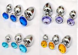 Anal Plug Acier 3PCS Petit Moyen Grandes Tailles en métal inoxydable avec des diamants Anal Dildo Sex Toys Butt Plug pour les femmes
