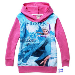 12pcs 10 colores 2015 hoodies de los niños de la princesa ElsaAnna impreso largas de la manga de los niños ropa de la caída de los bebés de suéteres para niños 2-8yrs