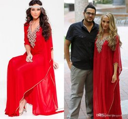Wholesale Evening Dresses Red Arabic Style Kaftan Middle East V Neck Dubai Fashion Cystal Beaded Long Sleeve Muslim Women Formal Prom Gowns Abaya