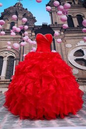 Wholesale Cheap Hot Sale Red Quinceanera Dresses Sexy Sweetheart Organza Bling Sequin Princess Ball Gown Quinceanera Gown Fashion Prom Party Gown