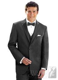 Wholesale 2015 lapel bride wedding dark grey suit men best man is fit for two button three suit jacket pants vest tie