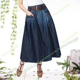 Wholesale Fashion Casual Pocket Female Dark blue Long Denim Skirt Jeans Maxi Skirts with Womens Belts Random