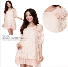Wholesale New Maternity Clothes Stunning Half Sleeve Round Neck Maternity Dress Lace Dress DH04