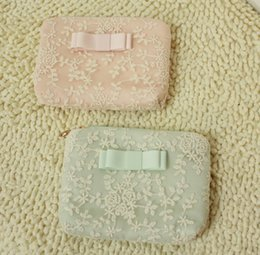 Wholesale The original single foreign trade product ice cream lace bowknot cosmetic bag pure cotton lace wallet bag sanitary napkin bag storage bag