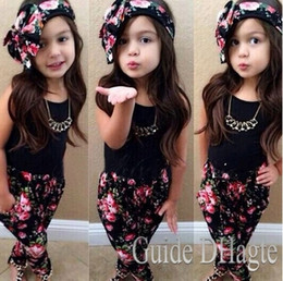 Wholesale 2 Y Girls Baby Clothing Sets Sleeveless Shirt Tops Floral Pants Headband Vogue Clothes