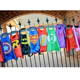 Wholesale 15 Styles cm Superhero Kids Superman Cape Superman Batman Spiderman Supergirl Batgirl Robin kids Christmas Halloween cape