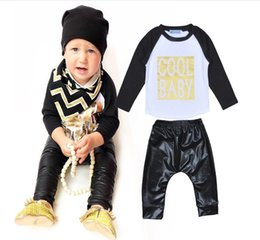 Wholesale Cool Baby Spring Fall Set Newborn Clothing Letter Long Sleeve T Shirts Black Pants Children Boys Clothes Set