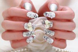 Wholesale fashion Luxurious fake nail flower pearl fake nails for party crystal fake nails for women