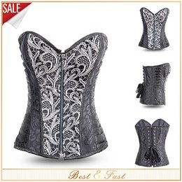 Wholesale New Sexy Black Full Steel Boned Bustiers Zipper Front Embroidered Corset Overbust Corsets Top Waist Training Corsets Corselet