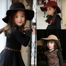 Wholesale Cute Summer Girl Wool Felt Hats Childrens Vintage Wide Brim Beach Caps Kids Sun Hats EKO