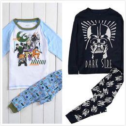 12 PC 2 estilos Nuevo para niños 100% Algodón bebé Pijamas para niños de dibujos animados de Star War de manga larga Top + Pants 2 partes de bebé ropa de noche ocasional
