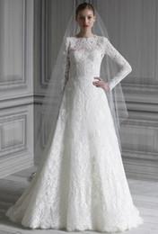 Wholesale Vestido de boda hermoso del cordón con las inspiraciones largas de la longitud del piso de la manga Venta caliente Vestidos de boda musulmanes para la novia