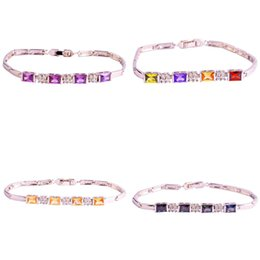 Wholesale 2015 New Fashion Jewelry Multi Color stone925 Silver Sparkling Bracelet Gift For Women