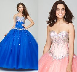 Wholesale 2015 Plus Size Quinceanera Dress Sweetheart Strapless Crystal Beaded Tulle Royal Blue Pink Full Length Corset Backless Ball Gown Prom Dress