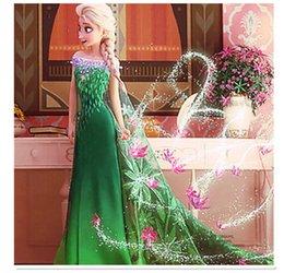 Wholesale Enfants Vêtements Frozen Lace Fever Robe avec Cloak Vêtements Filles Enfants manches courtes Elsa Anna Bow Lace Yarn Robes vertes