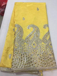 Wholesale JK13K yellow Unique design hollowed out silky George lace fabric African George blouse high quality yards piece
