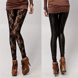 Wholesale Women Leather Leggings New Arrival Sexy Women Lace Faux Leather Stitching Stretchy Leggings