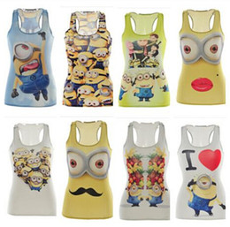 Wholesale Cartoon Minions Vest punk Minions tanks Tops Despicable Me Minions camisole Cartoon D print women T Shirts Cartoon Vest DDA3097