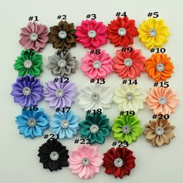 Wholesale Fabric Flower For Headbands Crystal Shank Satin Flowers DIY Hair Accessories colors
