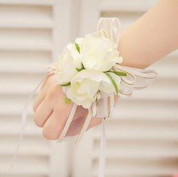 Свадебный банкет для вечеринок Свадебный цветок невесты цветок запястье корсаж запястье цветок высокого качества пенистый головной убор цветок BF03