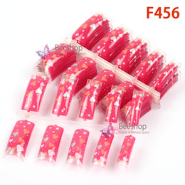 Wholesale 100pcs Fake Nails Art Tips Lovely Hearts Shape Pattern Pre Designed Nail Tips Without Glue French Natural Tips Super Deals F456