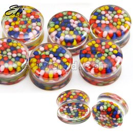 Wholesale 32pcs Mix Size New Multicolor Beads Acrylic Double Flared Saddle Ear Plug Ear Tunnel Expander Plugs Body Piercing Jewelry