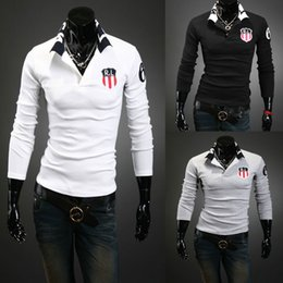 Wholesale Fashion Polo T Shirts Mens Long Sleeve Color M L XL XXL Cotton Embroidery NYPD New York police Department Slim T Shirt