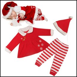 Wholesale Samgami Baby boys Christmas rompers kids Xmas turn down collar fleece skirt striped pants caps set suits J110304 DHL