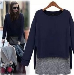 Wholesale 2015 Europe and the United States New False two piece Women s clothes Long sleeve T shirt long sleeved loose shirt Women s clothing NSY6