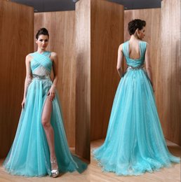 Wholesale Light blue sequins lace celebrity red carpet dresses pleats halter neck former evening gowns front slit runway prom celebrity dresses
