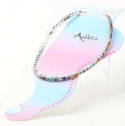 Wholesale New MIC Silver Plated Fresh Full Clear Colorful Rhinestone Czech Crystal Circle Spring Anklets COLORS