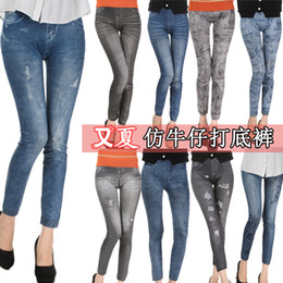 Wholesale Leggings for Women Leggings Jeans Cheap Ripped Denim Spandex Graffiti Printed Legging New Dhl b386