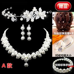Wholesale ree Shipping Cheap Fashion Unique Wedding Bridal Bridesmaids Rhinestone Necklace Earrings Jewelry Set Prom Bridal Accessories