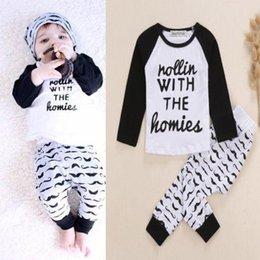 Wholesale 2015 New Baby Infant Kid Boys Bodysuit Clothes Homie Print letter T shirt Moustache Pants Outfits Sets